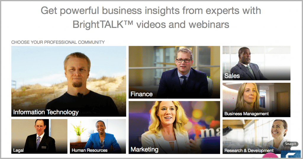 BrightTalk webinars example of how to build an audience