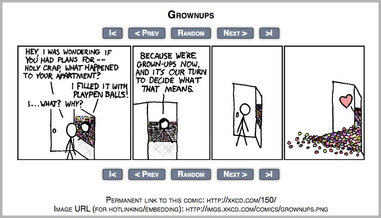 Cartoons from xkcd site example on how to build an audience