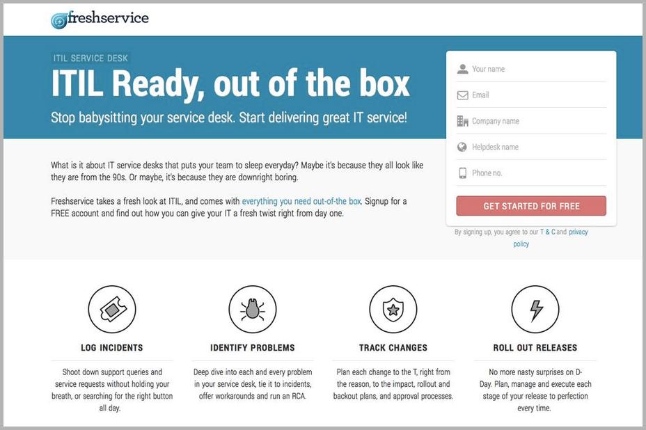 Fresh Service web design example
