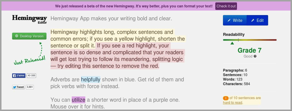 Hemingway portal image for content creations apps