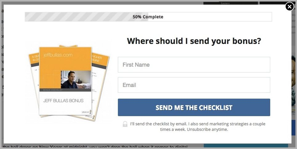 LeadBoxes from Jeff Bullas example - email conversions