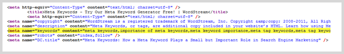 Meta Keywords screenshot