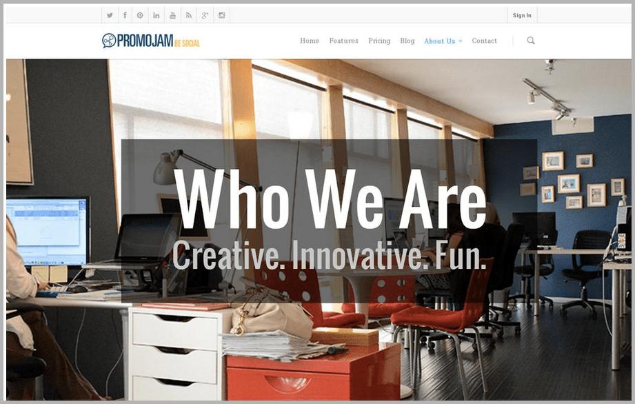 Promo jam web design example