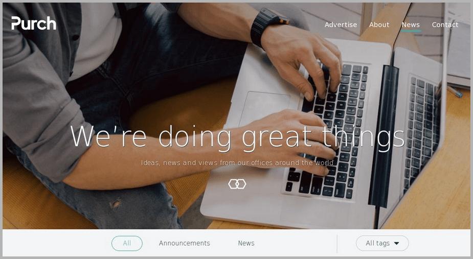 Purch web design example