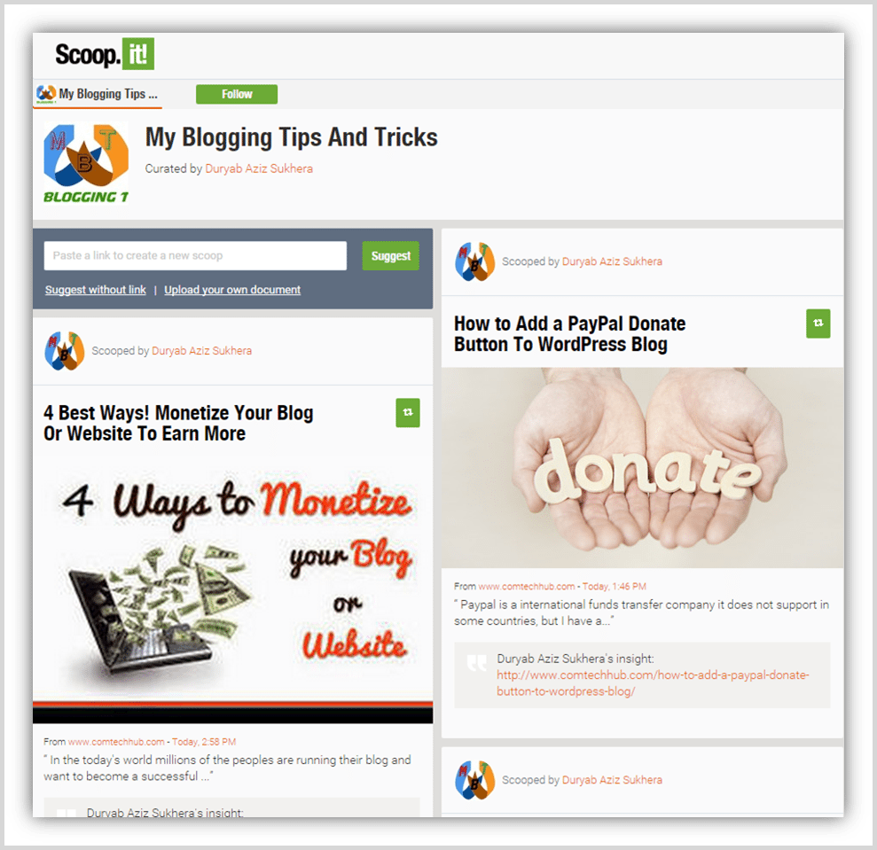 Scoop.it for getting blog traffic screenshot