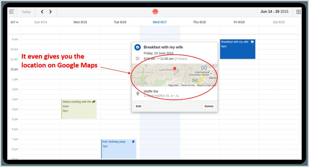 SunRise calendar screenshot