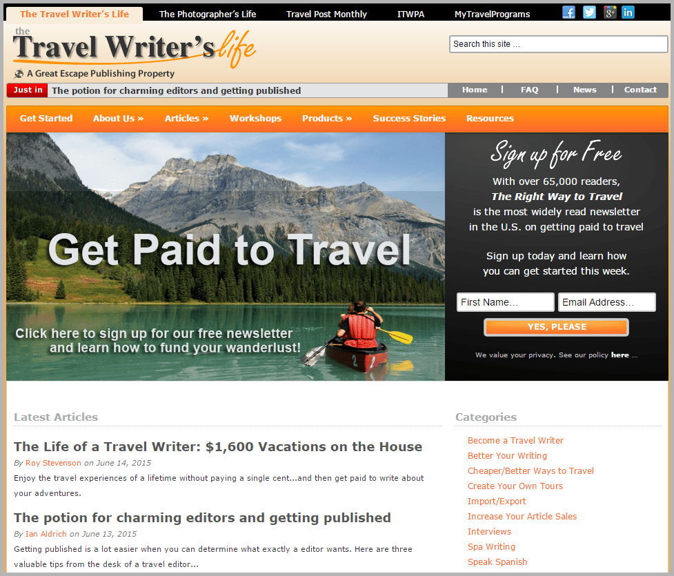 The Travel Writer's Life - sites that will pay you