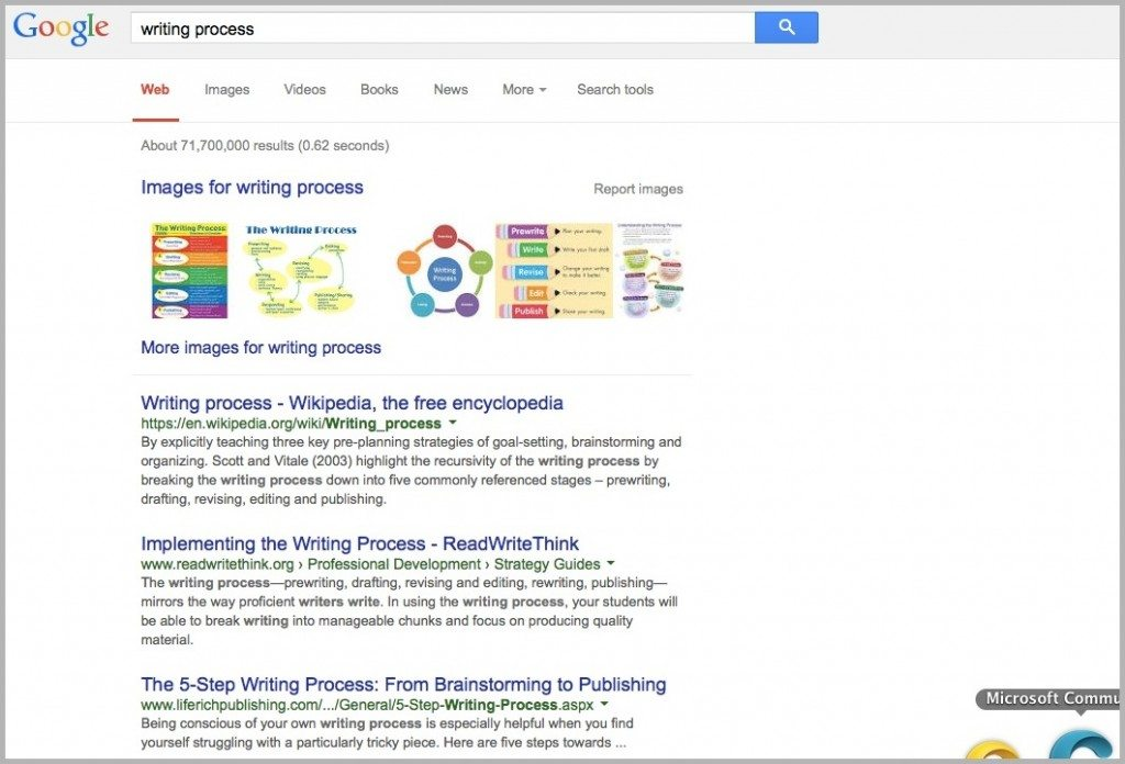 Writing process search in Google