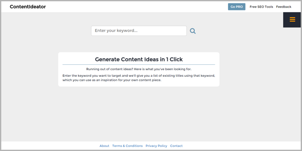 Content Ideator - example of writing tools for content marketing