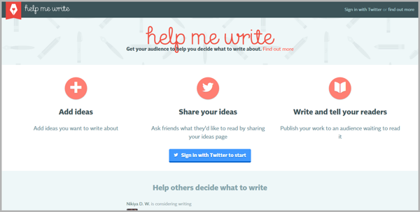 Help me write - example of writing tools for content marketing