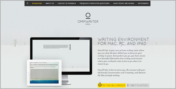 Ommwriter - example of writing tools for content marketing