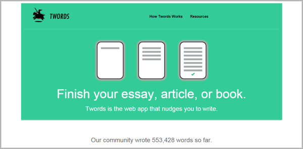 Twords - example of writing tools for content marketing