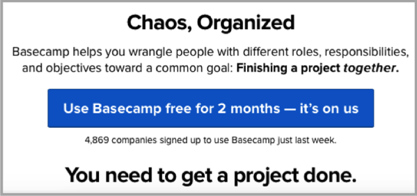 Basecamp CTA exmaple to increase conversions