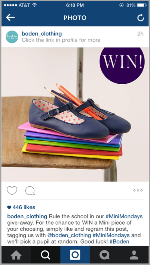 Boden clothing instagram example for launch your app on social media