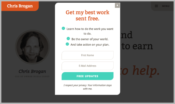 Chris Brogan example - popup calls-to-action