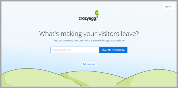 Crazy Egg - landing page