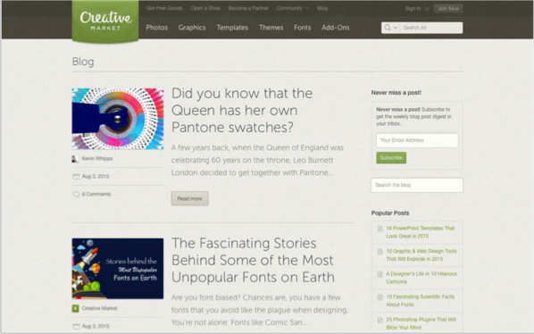 Creative Market - Top 50 Marketing Blogs