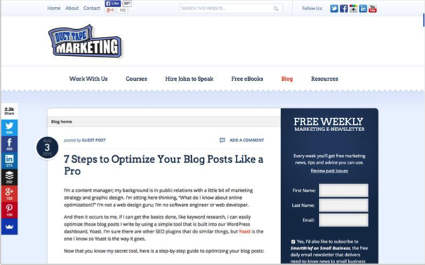 Duct Tape - Top 50 Marketing Blogs
