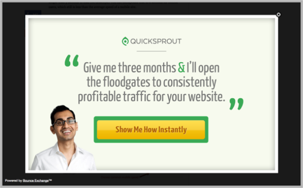 Quick Sprout example - popup calls-to-action