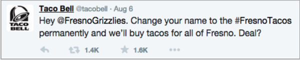 Taco bell on twitter example 2 - launch your app on social media