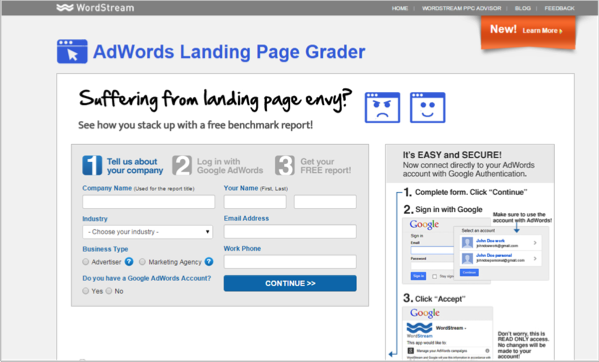 WordStream - landing page