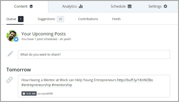 Buffer - example of social media tool