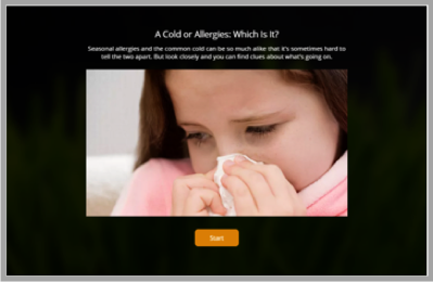 Cold and allergies quiz -how to increase website traffic