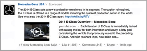 Mercedes-Benz ad for How to advertise your business on linkedin