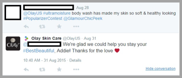 Olay skin care Twitter management tips example
