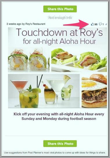 Roy's restaurant social media content example