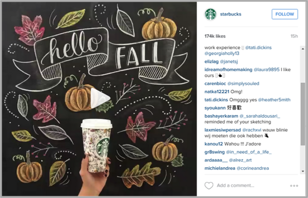 Starbucks example of how to make money on instagram
