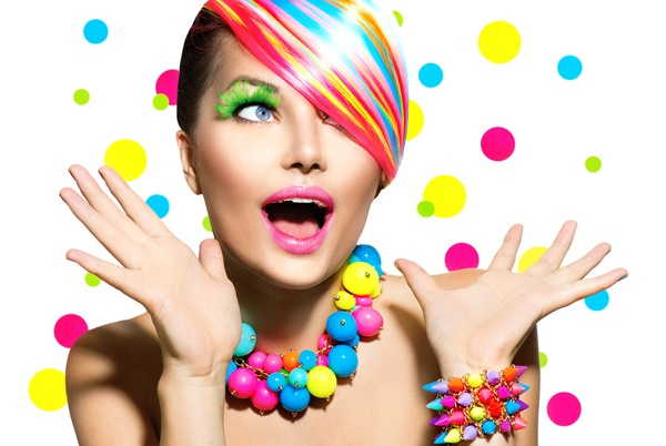 Colorful woman showing emotions for contagious social media marketing
