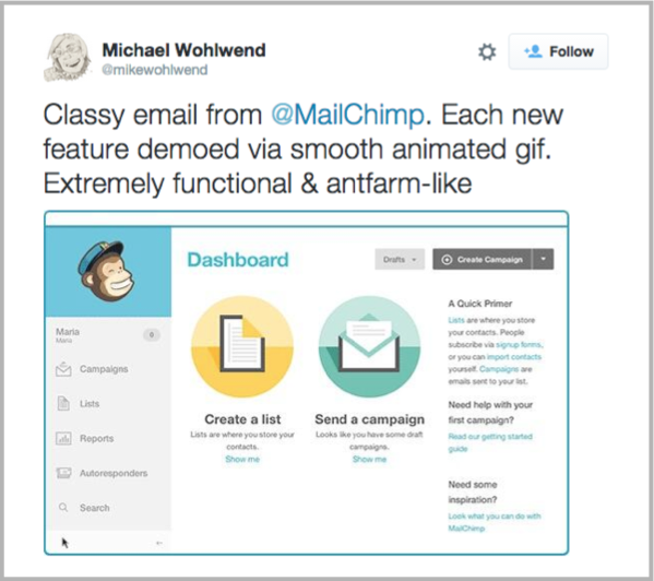 Michael Wohlwend Tweet as an example of content marketing