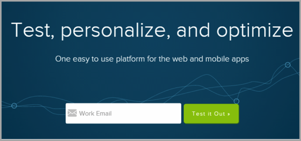Optimizely example of landing pages