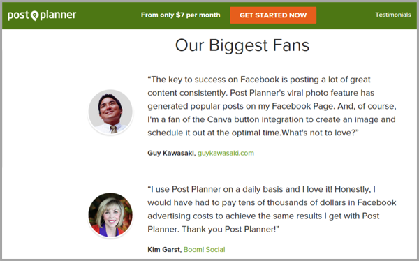 Post planner example of landing pages