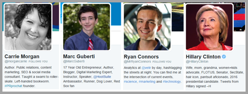 Twitter profiles example for for social media strategies