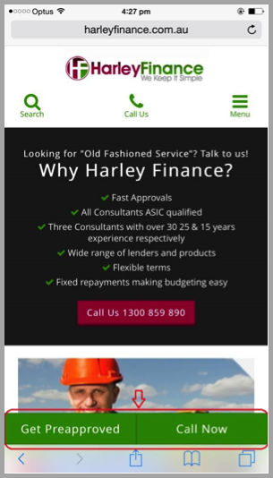Harley Finance example of SEO campaign