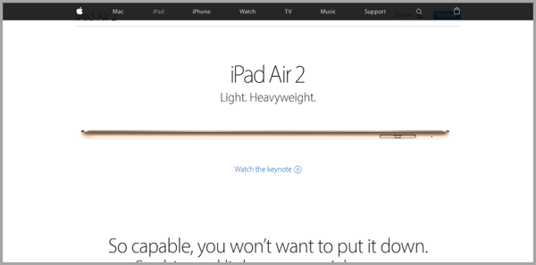 Apple example of how to make your website awesome