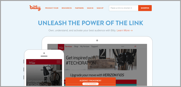 Bitly - example of social media management tools