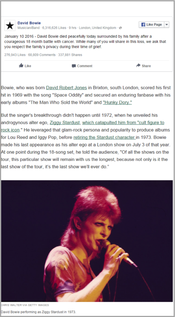 David Bowie - example of how to make your website awesome