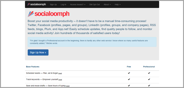 Social Oomph - example of social media management tools