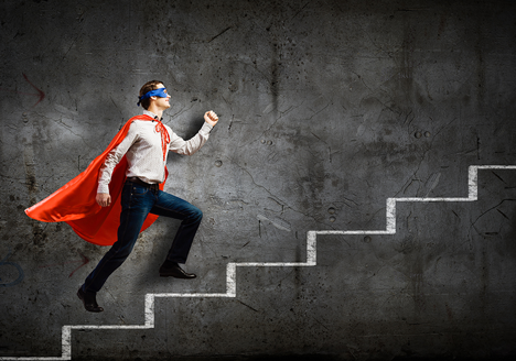 Superhero on stairs - become an influencer in your industry