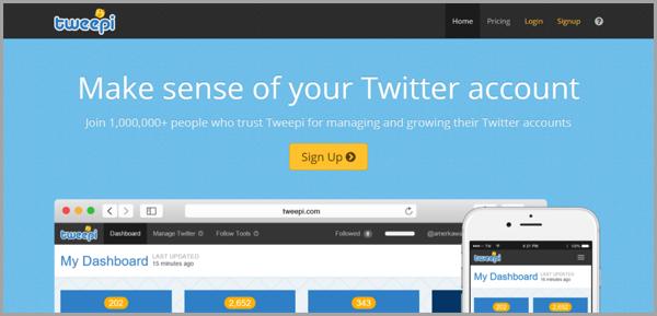 Tweepi - example of social media management tools