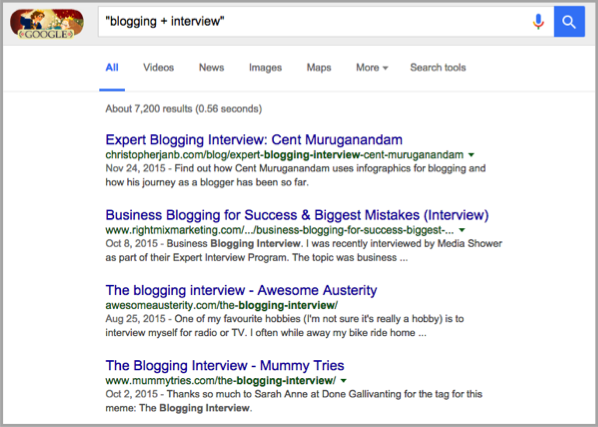 interview google search - become an influencer in your industry