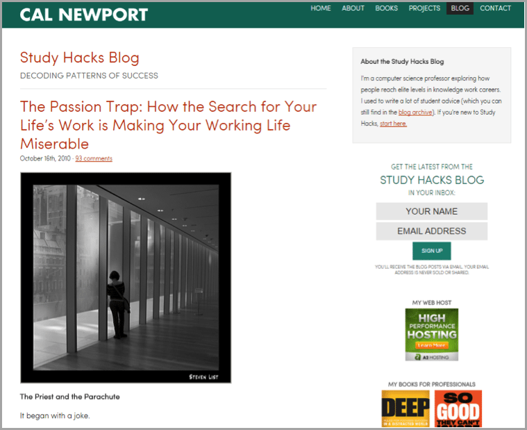 Cal Newport - example of unconventional blog results