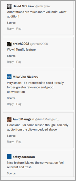 Comments - example of user generated content