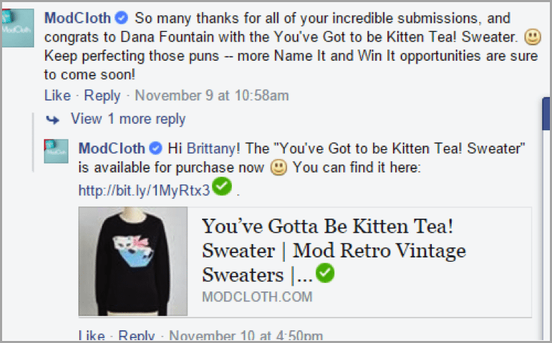 Modcloth example 2 - grow your startup with social media