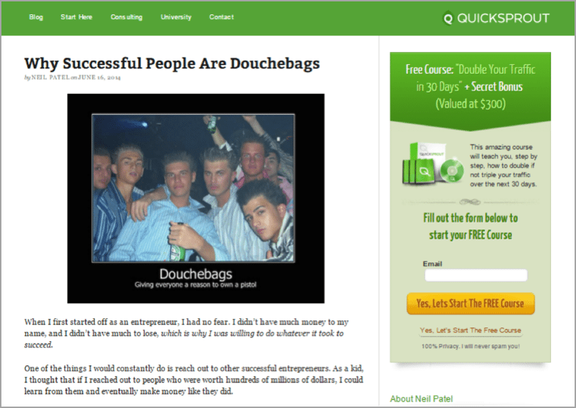 Neil Patel - example of unconventional blog results
