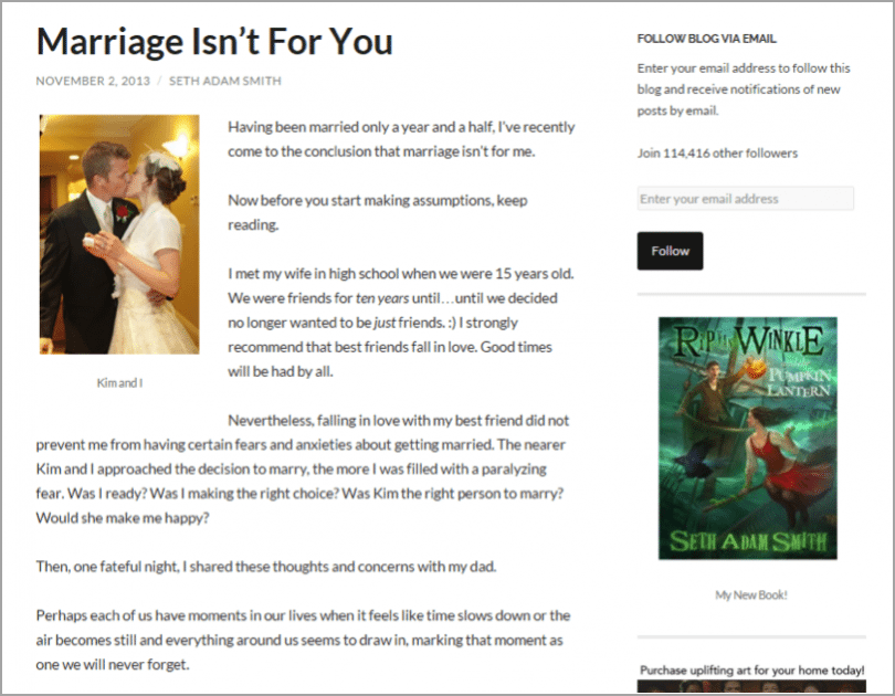 Seth Adam Smith - example of unconventional blog results
