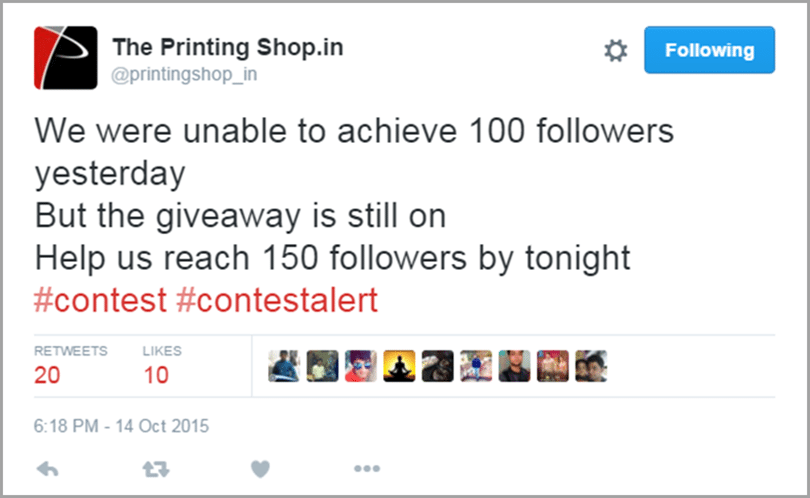 The Printing Shop mini give away extension image for get social media traffic